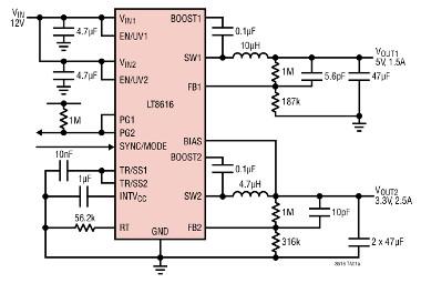 Doble convertidor reductor síncrono