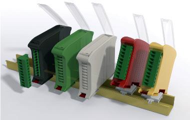 Cajas para electrónica sobre raíles DIN