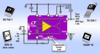Regulador lineal de baja caída con tensión negativa