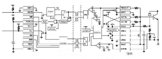Figura 2: Controlador de puerta BM6104 de ROHM, diagrama de circuito típico con protección contra desaturación de los IGBT en caso de sobrecarga