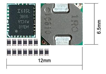 Figura 3: Una implementación discreta tradicional de un convertidor PoL de 6 A con los componentes periféricos necesarios, excluyendo los condensadores de entrada / salida
