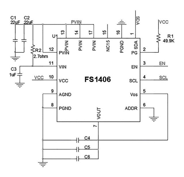 Figura 6: El TDK FS1406 µPOL en una aplicación típica