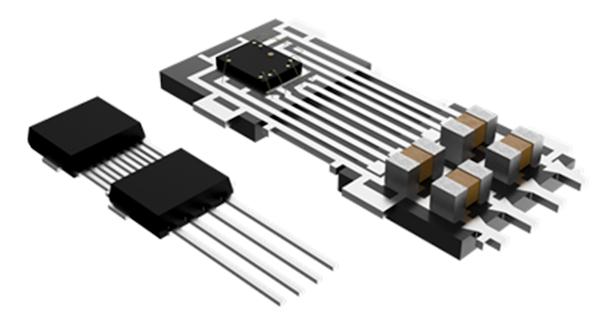 Figura 6: paquete DMP-4 sin PCB con vista en corte que muestra silicio y componentes integrados