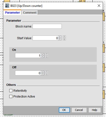 Ventana de propiedades de bloque de contador Up/Down Counter