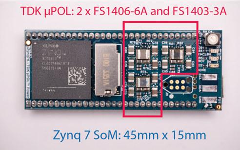 Figura 5: Diseño de alimentación de FPGA de pequeño formato (SFF) de convertidores µPOL