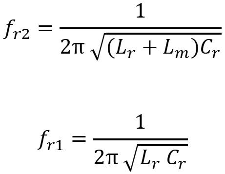 Durante un cambio de carga, la frecuencia de resonancia varía desde un valor mínimo (fr2) a un valor máximo (fr1)