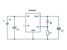 Figura 2: un controlador LED lineal para aplicaciones con alimentación por batería.