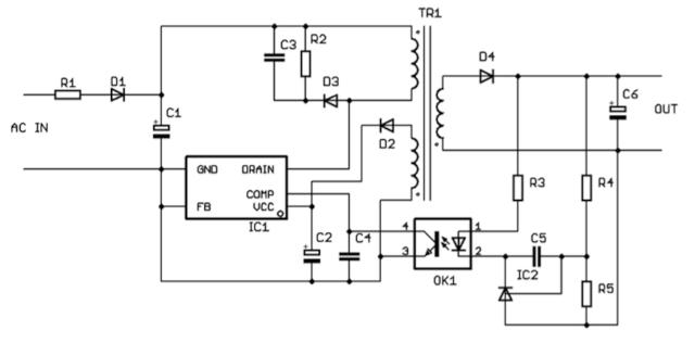 Figura 2. Aplicación aislada típica (convertidor flyback).