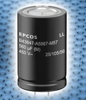 Condensadores electrolíticos de aluminio B43647 con elevada corriente de rizado